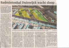 Badmintonhal Duinwijck wacht sloop